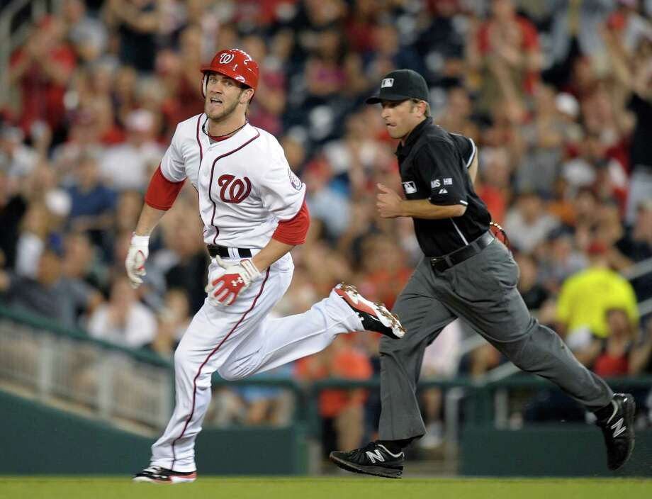 Rookie Bryce Harper's tiebreaking RBI double in the sixth lifted the Nationals to victory. Photo: AP