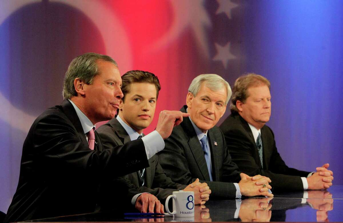 Lt. Gov. David Dewhurst, left, Sean Hubbard and former Dallas Mayor Tom Leppert in a live PBS debate broadcast by KUHF (Channel 8) earlier this month.