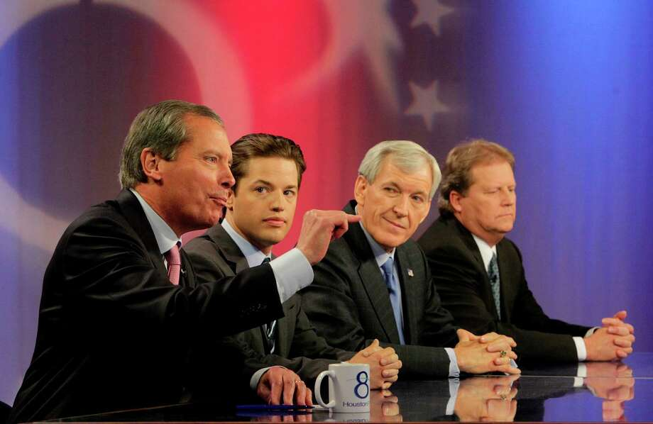 Lt. Gov. David Dewhurst, left, Sean Hubbard and former Dallas Mayor Tom Leppert in a live PBS debate broadcast by KUHF (Channel 8) earlier this month. Photo: Mayra Beltran / © 2012 Houston Chronicle