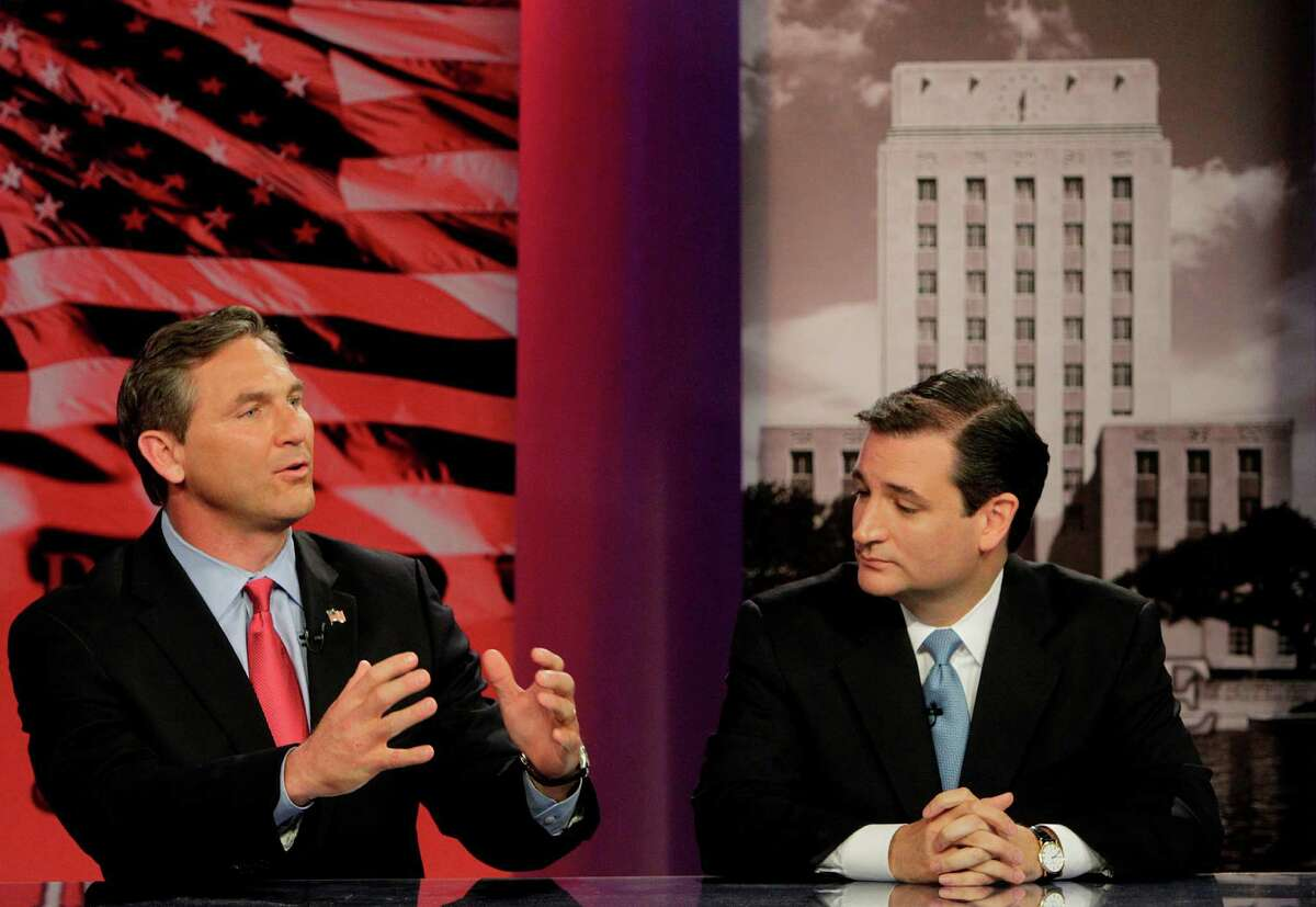 Craig James, left, and Ted Cruz were among four Republican candidates who took part Thursday, along with two Democrats, in a debate at UH in the race for a U.S. Senate seat.