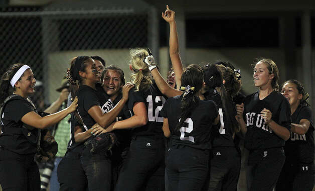 The Matadors celebrate as Seguin beats Brandeis 6-3 in area softball playoff action at the Northeast Softball Complex on  May 3, 2012.  Tom Reel/ San Antonio EXpress-News Photo: TOM REEL, Express-News / San Antonio Express-News