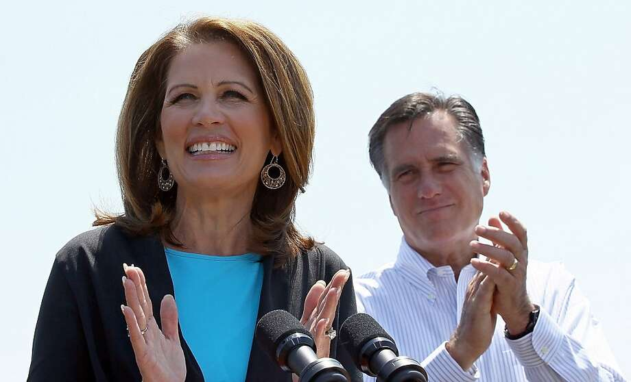 PORTSMOUTH, VA - MAY 03:  Republican presidential candidate and former Massachusetts Gov. Mitt Romney (R) appears with U.S. Rep. Michele Bachmann (R-MN) (L) during a campaign event at Crofton Industries May 3, 2012 in Portsmouth, Virginia. Bachmann, a former candidate for the Republican nomination, officially endorsed Romney's campaign during the event.  (Photo by Win McNamee/Getty Images)  *** BESTPIX *** Photo: Win McNamee, Getty Images