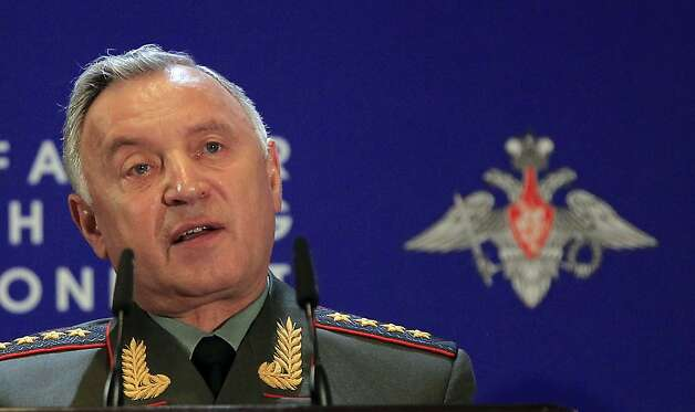 "Chief of General Staff Nikolay Makarov speaks at Russian Ministry of Defense's Conference on Missile Defense in Moscow on Thursday, May 3, 2012. President Medvedev last year threatened that Russia will retaliate if it does not reach agreement with the United States and NATO. Makarov on Thursday confirmed that stance, saying that that Russia will take ""a decision on a pre-emptive use of destructive force"" if ""the situation aggravates.""  (AP Photo/Sergey Ponomarev) Photo: Sergey Ponomarev, Associated Press"