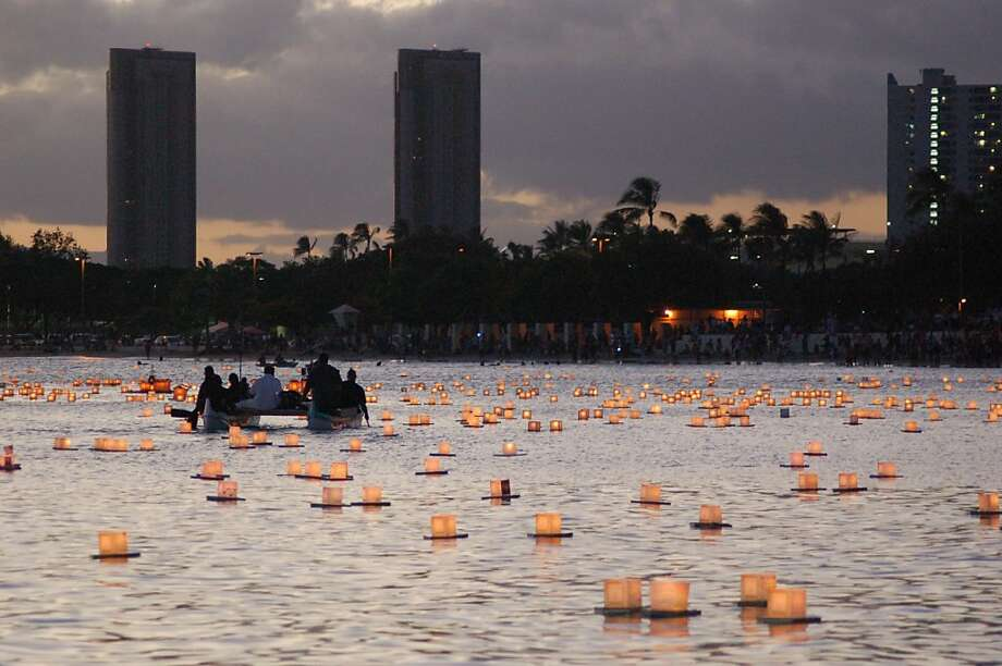 The 14th annual Lantern Floating Ceremony on May 28, 2012, is expected to draw some 40,000 residents and visitors to Ala Moana Beach Park, just outside of Waikiki. Hawaiian and Western cultures are represented in the performances preceding the Shinnyo-En Buddhist rituals. Photo: Jeanne Cooper, Special To SFGate