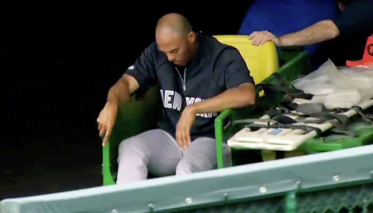 In this image taken from video, New York Yankees' Mariano Rivera is carted off the field after twisting his right knee shagging fly balls during batting practice before a baseball game with the Kansas City Royals, Thursday, May 3, 2012, in Kansas City, Mo. The Yankees closer was sent for further tests. (AP Photo/YES Network) MANDATORY CREDIT