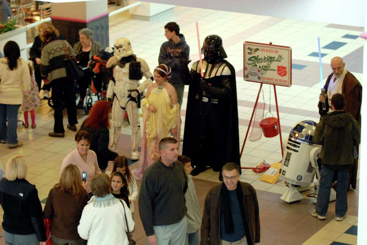 Star Wars characters from The 501st Legion's Garrison Excelsior were on hand ringing bells for the Salvation Army donations at Crossgates Mall on Dec. 6, 2008. (Michael P. Farrell / Times Union Archive)