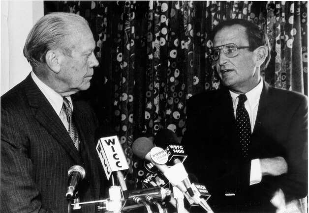 1986: Former President Gerald Ford at a news conference in Stamford supporting the candidacy of Congressman Stewart McKinney. Photo: File Photo