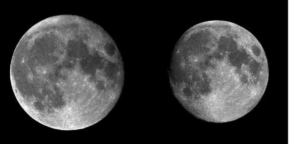 This side-by-side image shows the moon, at left, at perigee, or its closest approach to Earth at about 223,000 miles. The right-side image shows the moon at apogee, or its farthest distance of about 250,000 miles. Courtesy photo/Lamar University Photo: Perigee Moon