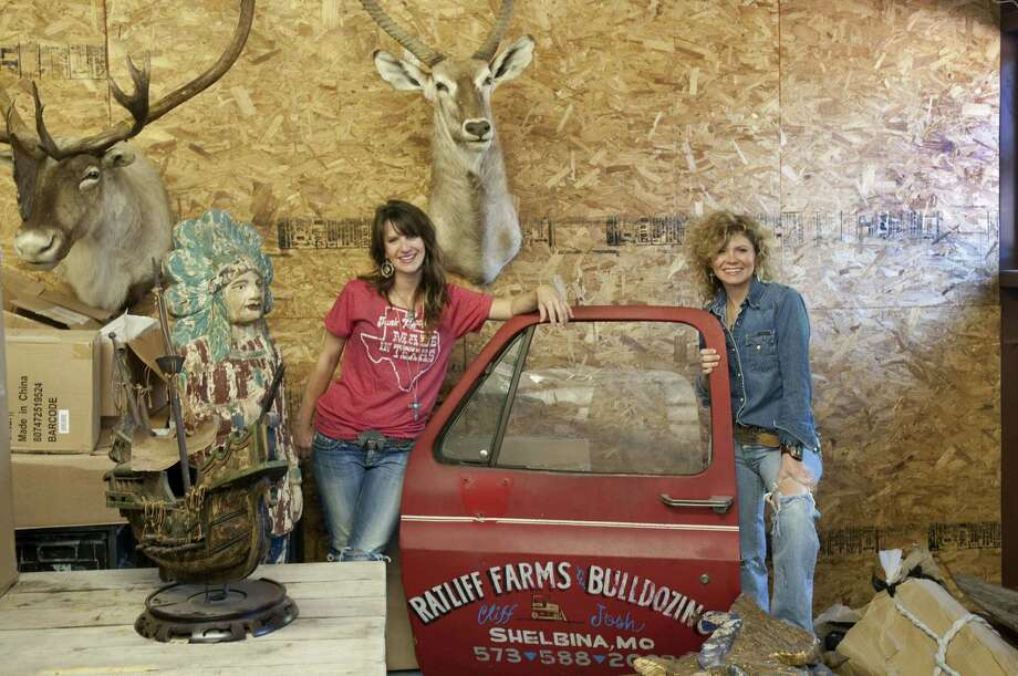 Sisters Jolie Sikes, left, and Amie Sikes, the Junk Gypsies, in the warehouse space they're building in Round Top that will also contain a retail store and their offices. Photo: Don Glentzer