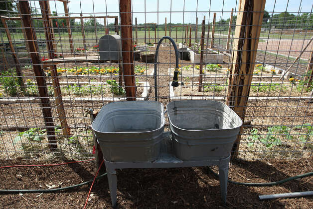 SA LIFE  -- Washing tubs are placed outside a garden at The Herff Farm at the Cibolo in Boerne, Thursday, April 26. 2012. The farm is part of the Cibolo Nature Center and will serve as an outdoor classroom for teaching sustainable living. Water used by volunteers is recycled back to the garden with hoses.  Jerry Lara/San Antonio Express-News Photo: JERRY LARA / © 2012 San Antonio Express-News