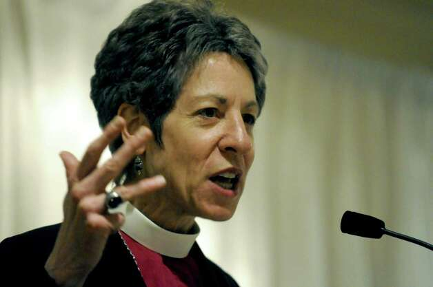 Episcopal Presiding Bishop Katharine Jefferts Schori addresses provincial synod preparing for triennial General Conference of the Episcopal Church at the Holiday Inn in Colonie N.Y. Friday May 4, 2012. (Michael P. Farrell/Times Union) Photo: Michael P. Farrell