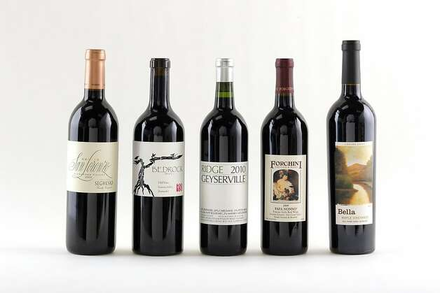 Sonoma Zinfandels, from left: 2009 Seghesio San Lorenzo Alexander Valley Red, 2010 Bedrock Old Vine Sonoma Valley Zinfandel, 2010 Ridge Geyserville Sonoma County Red, 2009 Forchini Papa Nonno Dry Creek Valley Red, 2009 Bella Maple Vineyard Dry Creek Valley. Photo: Craig Lee, Special To The Chronicle