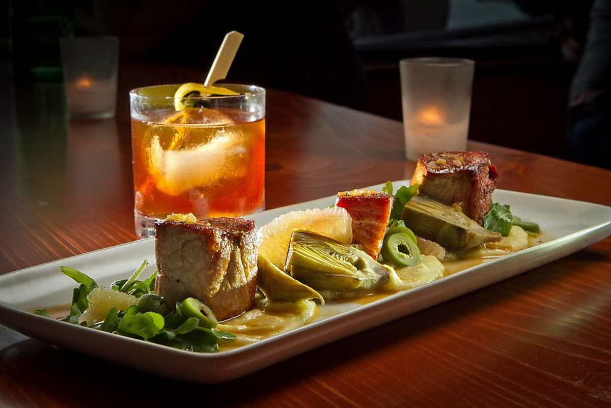 """The Pork Loin and Belly with the """"Devil's Halo"""" cocktail at Maven Restaurant in San Francisco, Calif., is seen on Thursday, April 27th, 2012."""