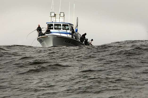 "The sport fishing boat ""New Rayann"" out of Sausalito with a full load of anglers aboard, fishes for Chinook (king) salmon along the Pacific Ocean off the coast of San Francisco, Ca., on Saturday April 21, 2012. Photo: Michael Macor, The Chronicle"