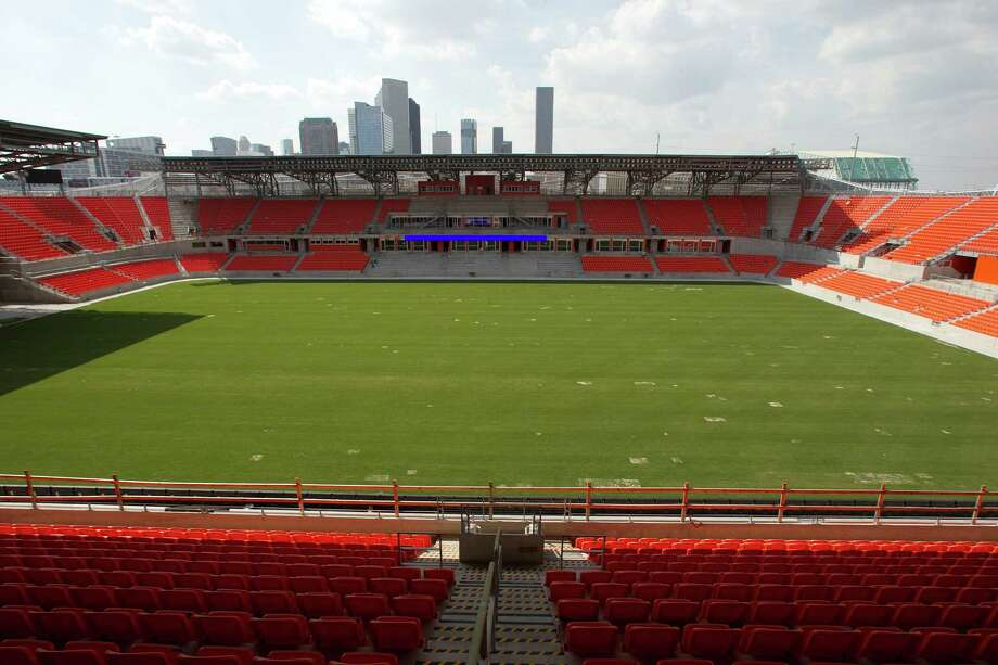 A view of the field from the upper level at the BBVA Compass Stadium in 2012.