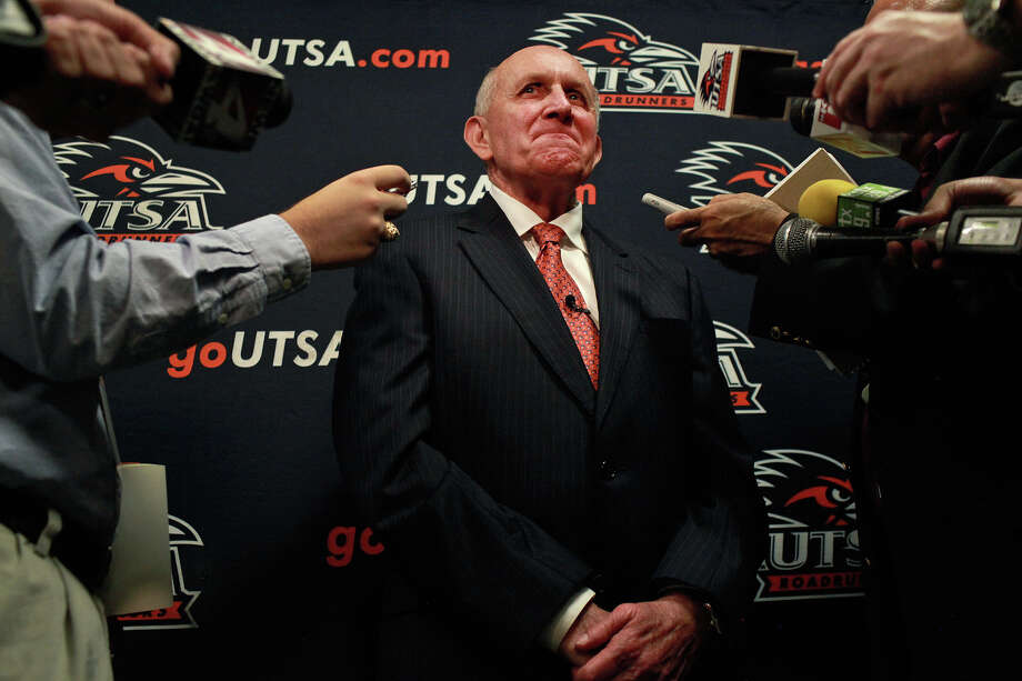 UTSA coach Larry Coker has high hopes for his Roadrunners even if they are picked to finish last in the WAC. Photo: Lisa Krantz, Express-News / SAN ANTONIO EXPRESS-NEWS