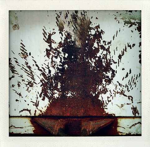 """Rust Fern"" - Marks on a metal recycling bin resemble Pteridophyta at Battery Street between Bush and Pine Streets. Photo: Meghan Gerzon Rand"
