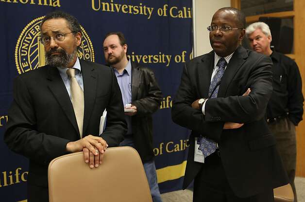 Dean and professor at the UC Berkeley School of Law Christopher F. Edley, Jr., (left) and vice president of the University of California Charles F. Robinson (right) answer questions on their report of an examination of police protocols and policies in responding to future UC protests and acts of civil disobedience at University of California offices in Oakland, Calif.,  on Friday, May 4, 2012. Photo: Liz Hafalia, The Chronicle