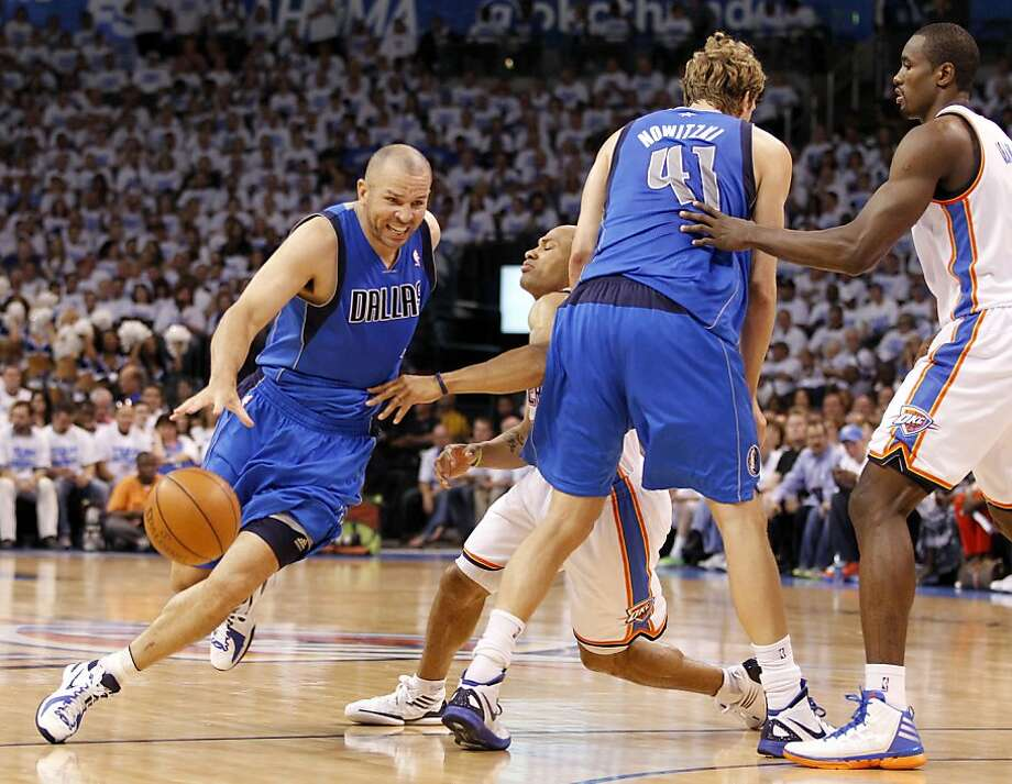 Dallas Mavericks point guard Jason Kidd (2) drives past a pick set by teammate Dallas Mavericks power forward Dirk Nowitzki (41) as Oklahoma City Thunder point guard Derek Fisher (37) is stopped during the first half of Game 2 of the NBA Western Conference Quarterfinals at the Chesapeake Energy Arena in Oklahoma City, Oklahoma, Monday, April 30, 2012. (Vernon Bryant/Dallas Morning News/MCT) Photo: Vernon Bryant, McClatchy-Tribune News Service