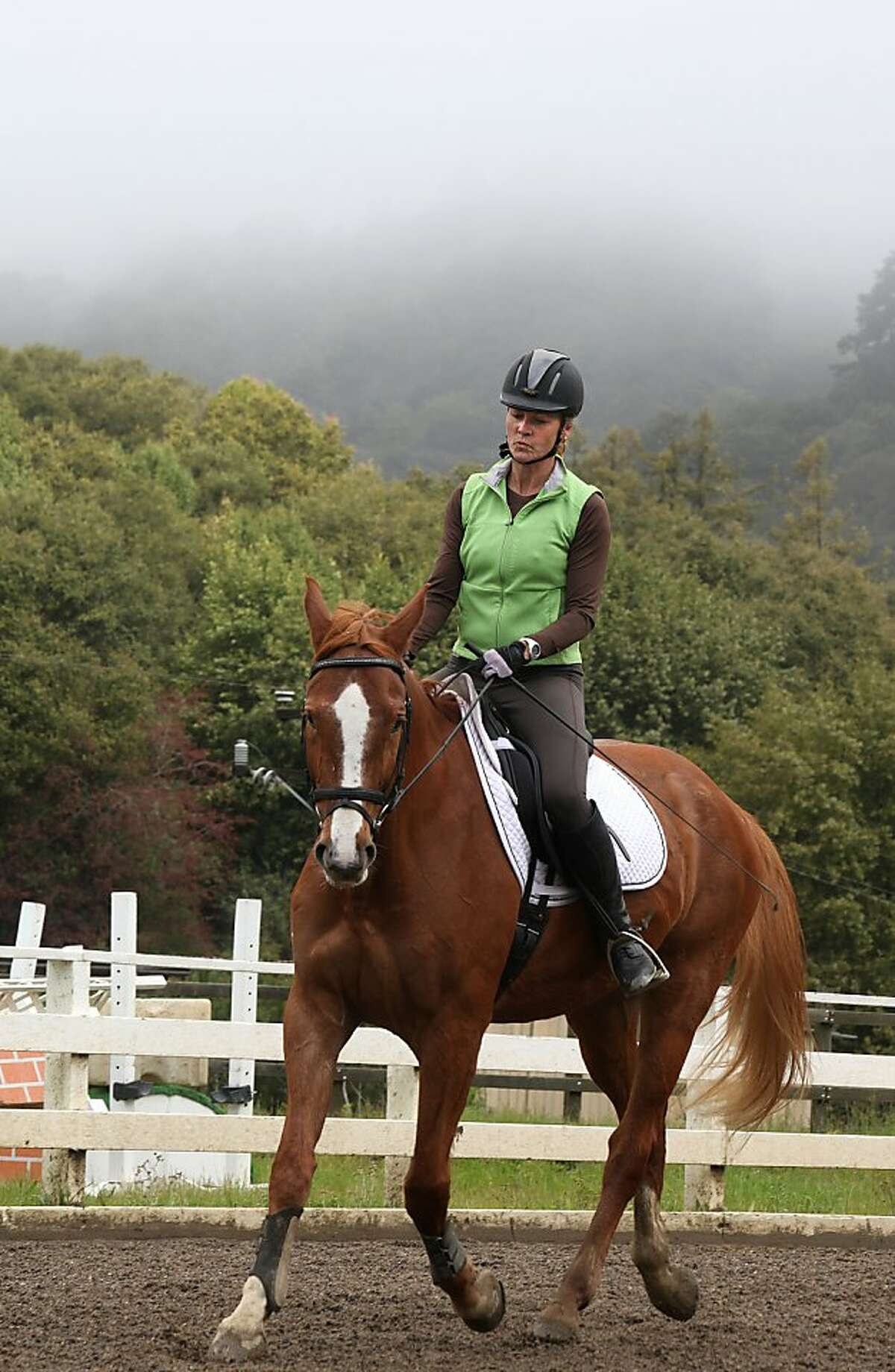 Alison Townley training with her horse, Aramu, at Skyline Ranch Equestrian Center in the Oakland Hills, Calif., on Wednesday, March 28, 2012.