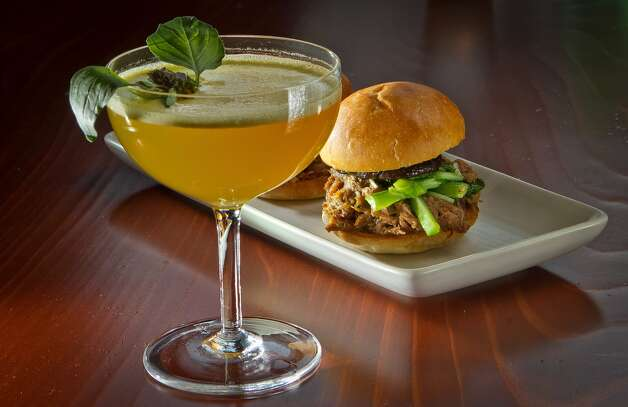 "The Chinatown Duck Sliders with the ""5 Spot"" cocktail at at Maven Restaurant in San Francisco, Calif., is seen on Thursday, April 27th, 2012. Photo: John Storey"