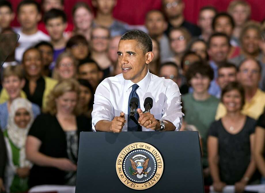 President Barack Obama speaks to students and parents at Washington-Lee High School in Arlington, Va., Friday, May 4, 2012, about his efforts to prevent interest rates from doubling on federal student loans. (AP Photo/J. Scott Applewhite) Photo: J. Scott Applewhite, Associated Press