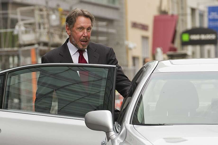 Oracle CEO Larry Ellison, here leaving court after testifying in the 2012 trial, contends that Google should pay for copying the Java programming language in its Android operating system. Photo: David Paul Morris, Bloomberg
