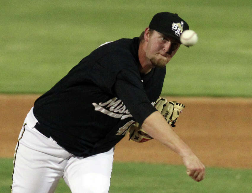 Missions' pitcher Matt Lollis takes over in the sixth inning against Frisco Roughriders at Wolff Stadium on Friday, May 4, 2012.