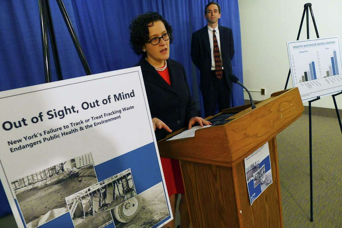 Katherine Nadeau, Water & Natural Resources Director with Environmental Advocates of New York, talks about a report on waste disposal from fraking sites at the Capitol in N.Y. Friday May 4, 2012. (Michael P. Farrell/Times Union)