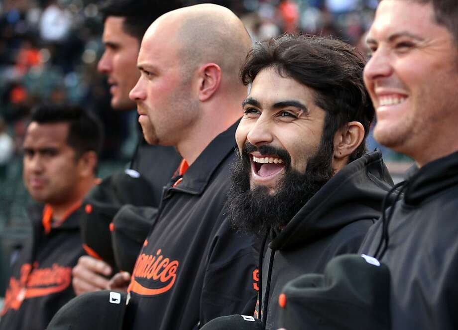 San Francisco Giants pitcher Sergio Romo jokes with his teammates prior to the start of their MLB baseball game with the Miami Marlins Wednesday, May 2, 2012 in San Francisco Calif. Photo: Lance Iversen, The Chronicle