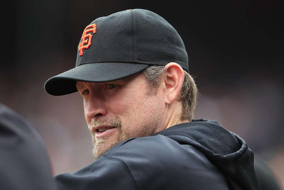 San Francisco Giants Aubrey Huff #17 speaks with a teammate during a match against the visiting Florida Marlins at AT&T Park in San Francisco, Calif. on Thursday, May 3, 2012. The Marlins defeated the Giants 3-2. Photo: Stephen Lam, Special To The Chronicle