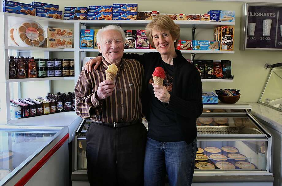 Founder Larry Mitchell (left) and his daughter manager Linda Mitchell (right) at Mitchell's ice cream in San Francisco, Calif.,  on Wednesday, May 2, 2012.  The ice cream shop will be celebrating it's 60th anniversary next year. Photo: Liz Hafalia, The Chronicle
