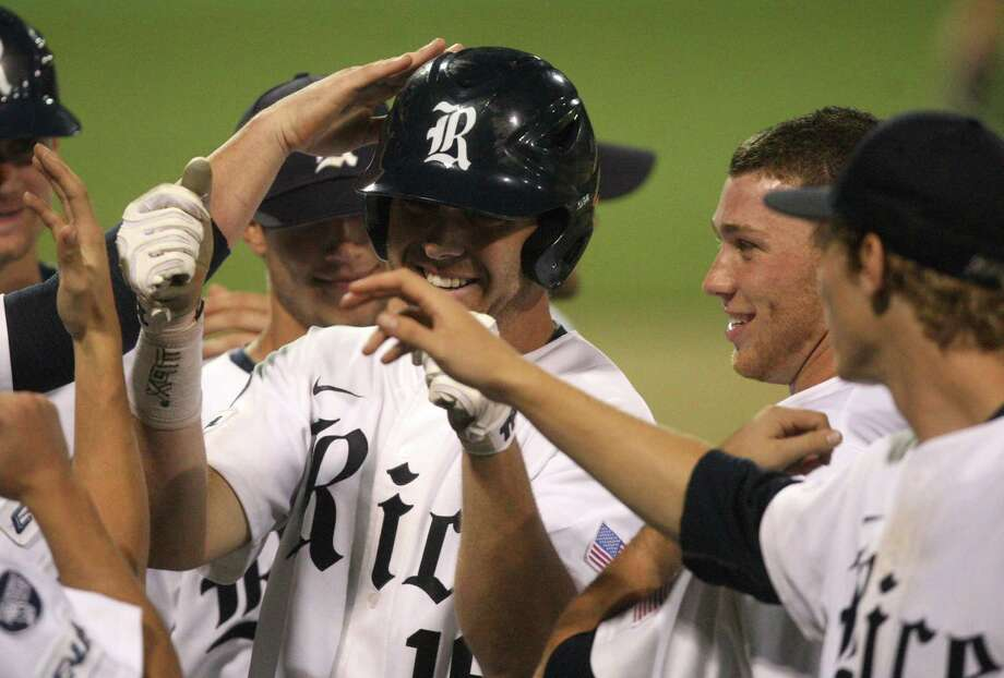Rice  first baseman Ryan Lewis (16) hits a solo home run during the eighth inning against the University of Houston at Reckling Park on Friday, May 4, 2012 in Houston, Texas. Photo: J. Patric Schneider, For The Chronicle / Houston Chronicle