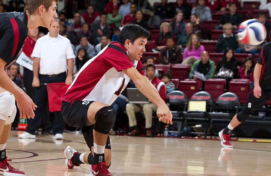 STANFORD, CA - March 2, 2012: Stanford's Erik Shoji during a men's volleyball vs. UC San Diego at Maples Pavilion. Stanford won in four sets, 25-21, 25-15, 22-25, 25-19. Photo: Casey Valentine, Stanfordphoto.com