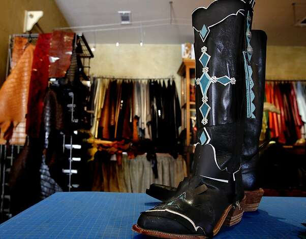 A pair of boots Terri Courtney works on at her workshop in her Napa Studio in Calif. on April 24, 2012. Photo: Siana Hristova, The Chronicle