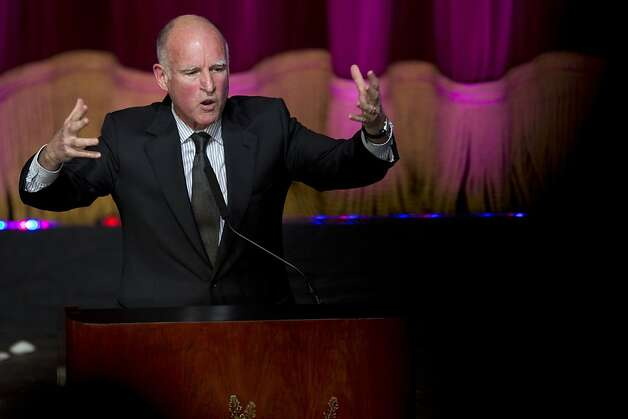 Gov. Jerry Brown delivers a speech to an audience of Silicon Valley Professionals during the Bay Area Council Outlook conference at the California Theater on Thursday, May 3, 2012 in San Jose, Calif. Photo: John Sebastian Russo, Special To The Chronicle
