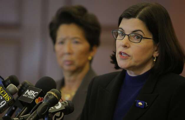Judge of San Francisco Superior Court Katherine Feinstein, front, and Judge Cynthia Ming-Mei-Lee held a press conference on Monday, July 18, 2011 in San Francisco Calif., to discuss the budget cuts made to the courts in San Francisco. Photo: Michelle Terris, The Chronicle