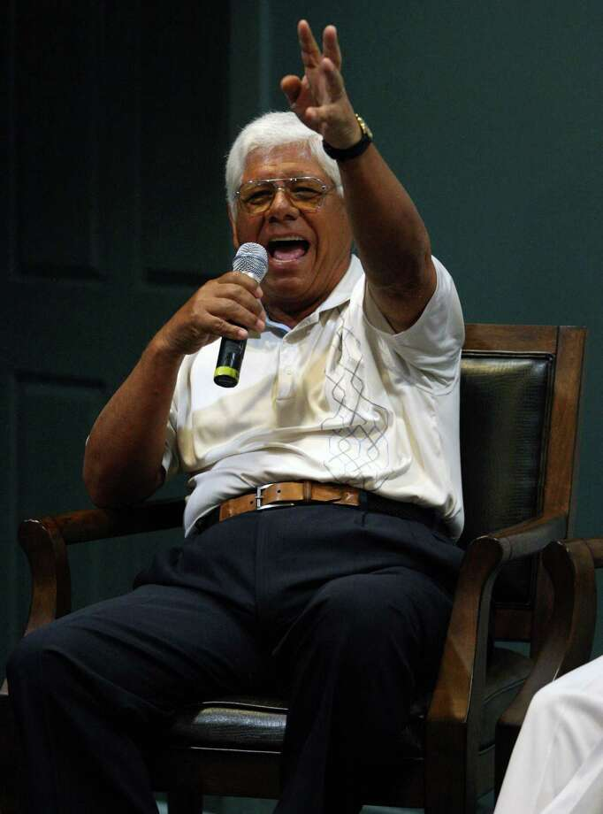 Lee Trevino tells a story during a press conference with Gary Player, Arnold Palmer and Jack Nicklaus before the second round of the Insperity Championship, Saturday, May 5, 2012 at the Tournament Course in The Woodlands, TX. The four along with five others played a nine-man scramble after the leaders teed off on Saturday. Photo: Eric Christian Smith, For The Chronicle