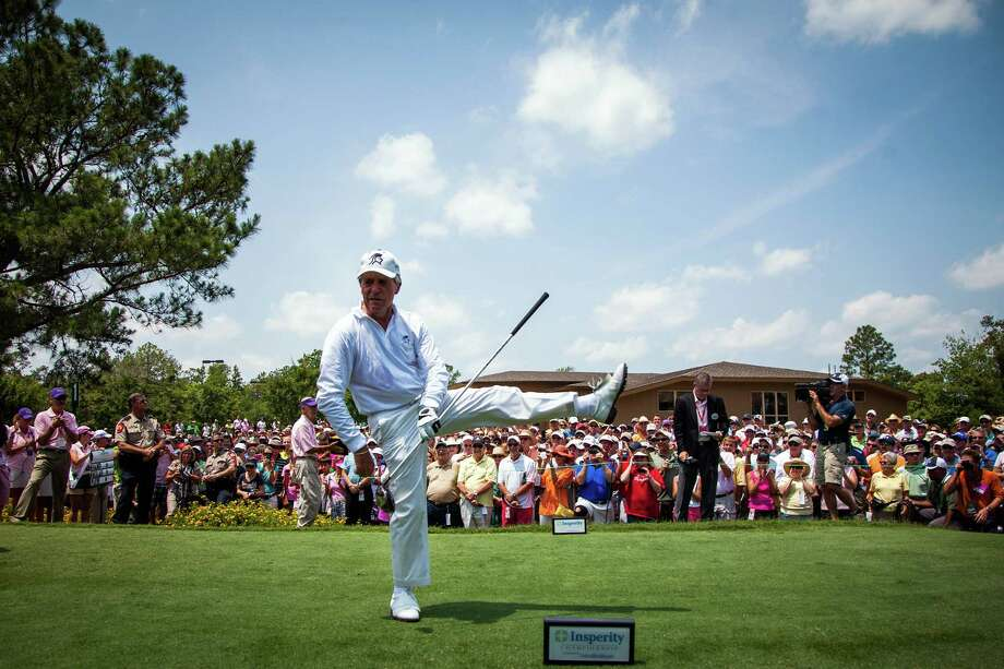 Gary Player reacts to his tee shot on the first hole during the The Insperity Championship Greats of Golf exhibition. Photo: Smiley N. Pool, Houston Chronicle / © 2012  Smiley N. Pool