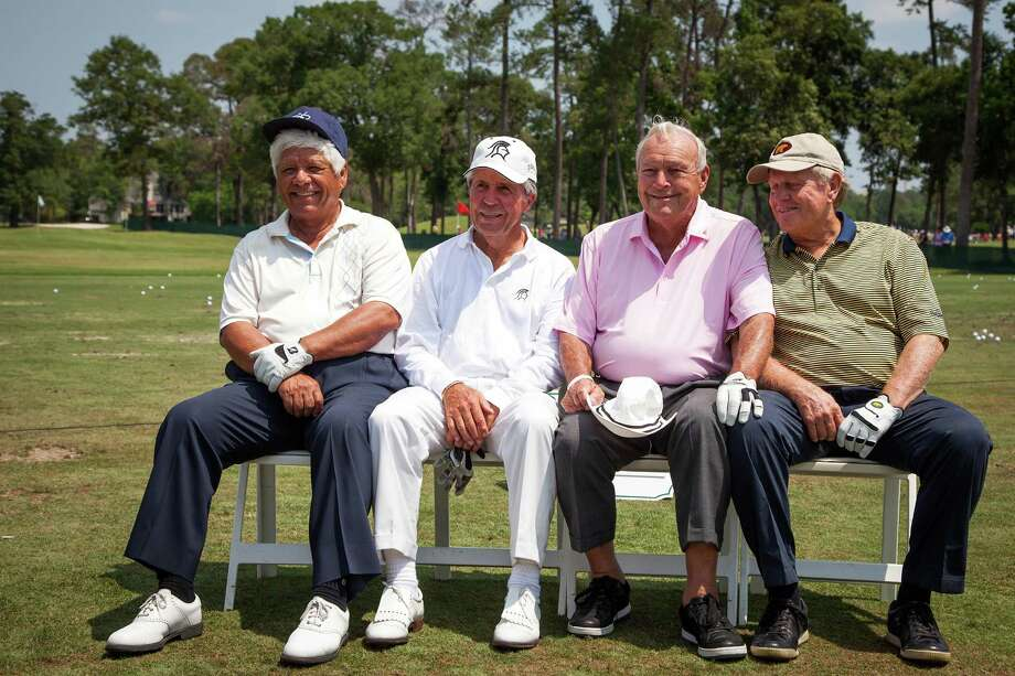 Lee Trevino, Gary Player, Arnold Palmer and Jack Nicklaus pose for a portrait before The Insperity Championship Greats of Golf exhibition. Photo: Smiley N. Pool, Houston Chronicle / © 2012  Smiley N. Pool