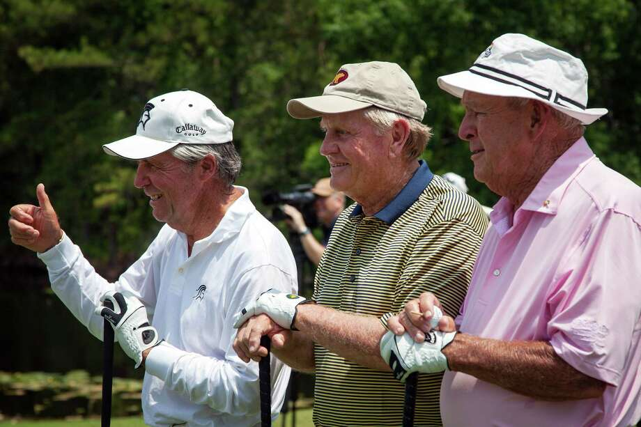 Gary Player, Jack Nicklaus and Arnold Palmer pose for the gallery on the first tee during The Insperity Championship Greats of Golf exhibition. Photo: Smiley N. Pool, Houston Chronicle / © 2012  Smiley N. Pool