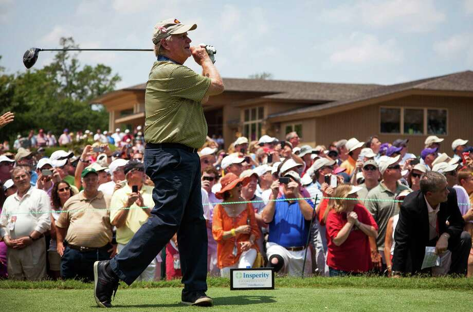 Jack Nicklaus watches the ball after teeing off on the first hole. Photo: Smiley N. Pool, Houston Chronicle / © 2012  Smiley N. Pool
