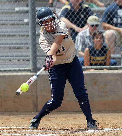 O'Connor's Kenedy Urbany (21) gets a hit for an RBI in the first inning against Judson in the second round of Class 5A softball playoffs on Saturday, May 5, 2012. O'Connor took the series by winning the first game on Friday and then again on Saturday with a 10-3 win over Judson. Photo: KIN MAN HUI, Kin Man Hui/Express-News / ©2012 San Antonio Express-News