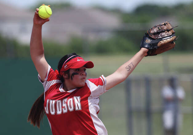 Judson's Stacy Perez took over pitching duties against O'Connor in the second round of Class 5A softball playoffs on Saturday, May 5, 2012. O'Connor took the series by winning the first game on Friday and then again on Saturday with a 10-3 win over Judson. Photo: KIN MAN HUI, Kin Man Hui/Express-News / ©2012 San Antonio Express-News