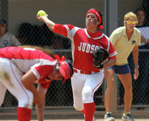 Judson's Brenda Iparraguirre makes a throw to first base against O'Connor in the second round of Class 5A softball playoffs on Saturday, May 5, 2012. O'Connor took the series by winning the first game on Friday and then again on Saturday with a 10-3 win over Judson. Photo: KIN MAN HUI, Kin Man Hui/Express-News / ©2012 San Antonio Express-News