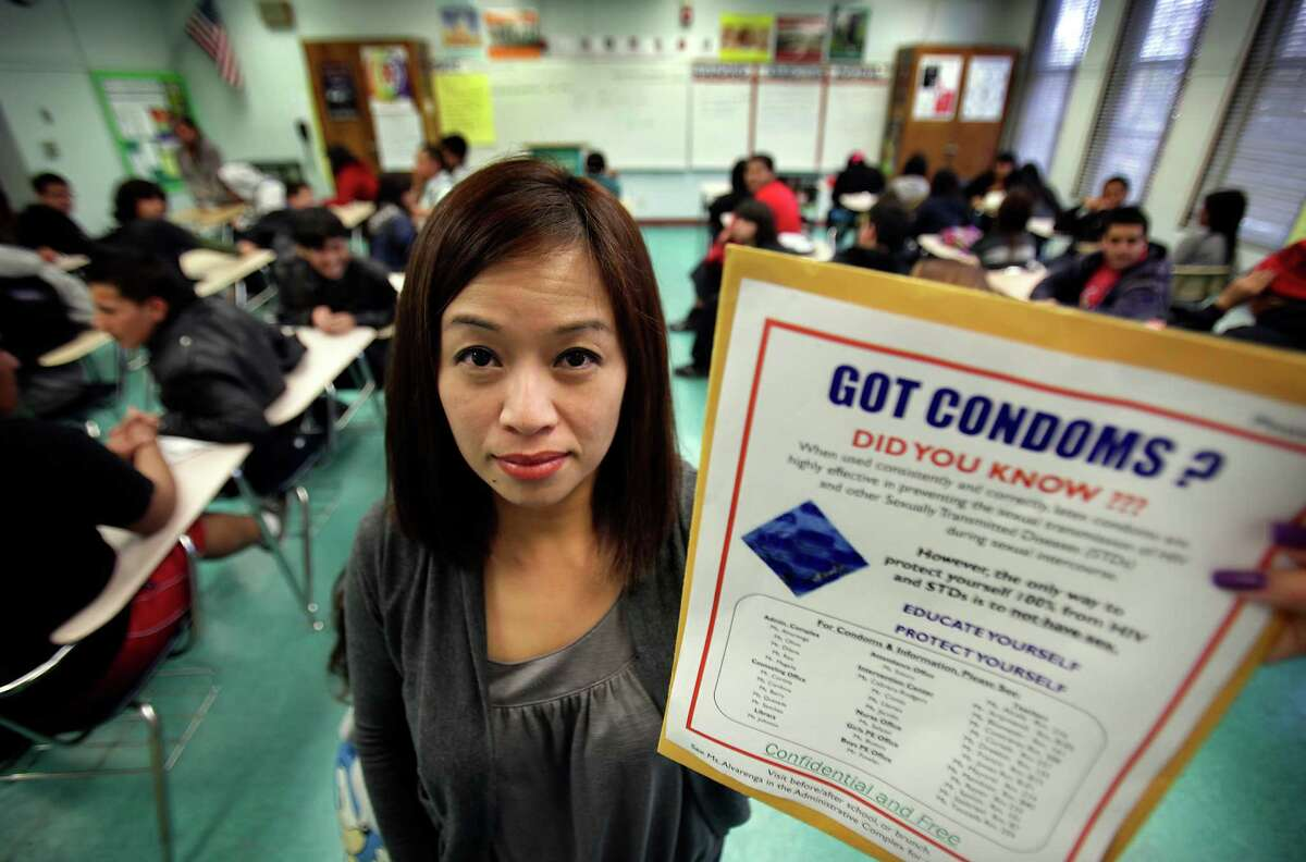 Karen Reyes, a 9th grade Health Class teacher at South Gate High School in Los Angeles, is on a list as a staff member who can distribute condoms through the Condom Distribution Program in California. Friday, Jan. 20, 2012. Bob Owen/San Antonio Express-News