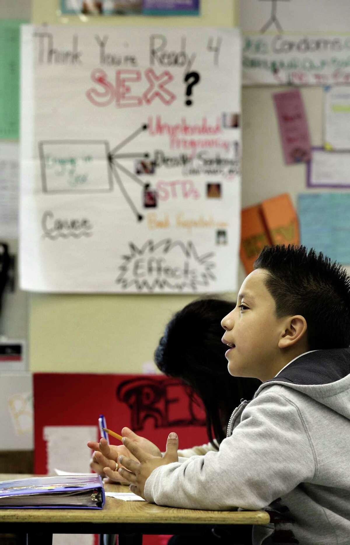 Jafet Ramirez, 12, in Kristie Barisdale's Health Class at Los Angeles Academy Middle School in Los Angeles. Thursday, Jan. 19, 2012. Bob Owen/San Antonio Express-News