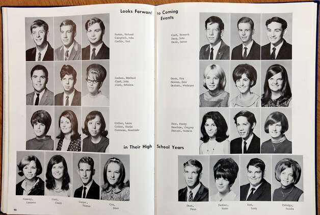 "FOR METRO - Copy photo of the 1968 John Jay high school yearbook ""Hoofprints"" Monday April 30, 2012 at the school. Photo: EDWARD A. ORNELAS, SAN ANTONIO EXPRESS-NEWS / © SAN ANTONIO EXPRESS-NEWS (NFS)"