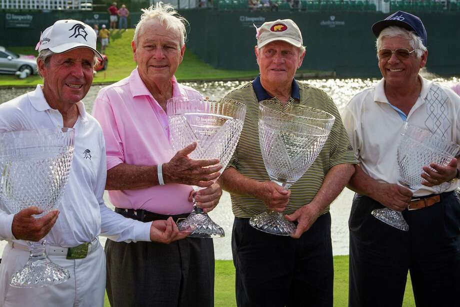 Gary Player, Arnold Palmer, Jack Nicklaus and Lee Trevino pose for a photo with their trophies following The Insperity Championship Greats of Golf exhibition at The Woodlands Country Club on Saturday, May 5, 2012, in The Woodlands. Photo: Smiley N. Pool, Houston Chronicle / © 2012  Smiley N. Pool