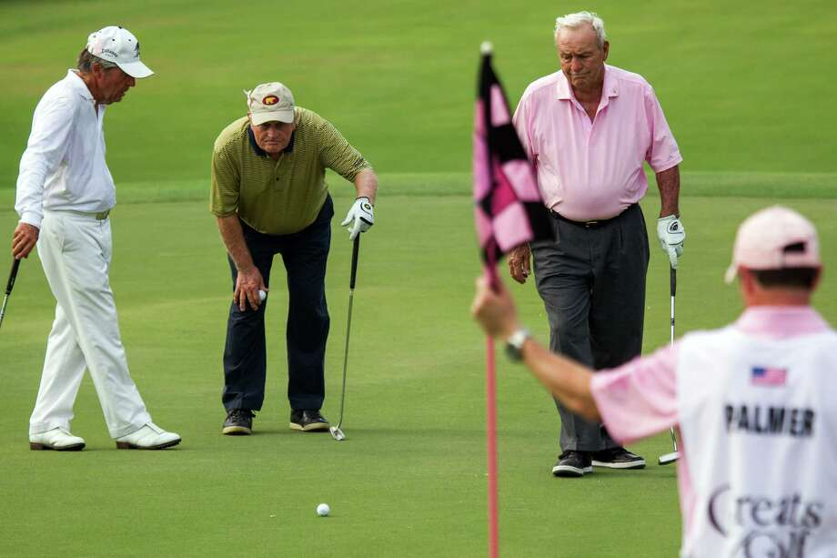 Gary Player, Jack Nicklaus and Arnold Palmer line up a putt during The Insperity Championship Greats of Golf exhibition at The Woodlands Country Club on Saturday, May 5, 2012, in The Woodlands. Photo: Smiley N. Pool, Houston Chronicle / © 2012  Smiley N. Pool